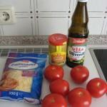 Zutaten für eine Tarte mit Senf und Tomaten