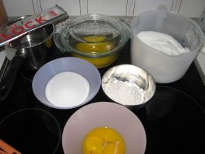 Zutaten für einen Schokoladenkuchen