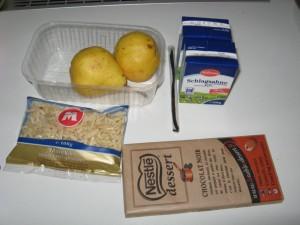Zutaten für warme Birne mit Schokosauce