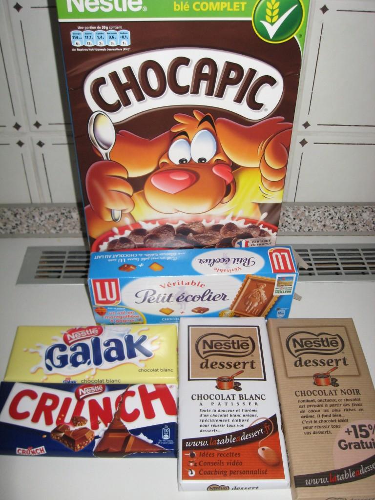 Chocapic, Crunch, Galak, Nestlé et Petit Ecolier