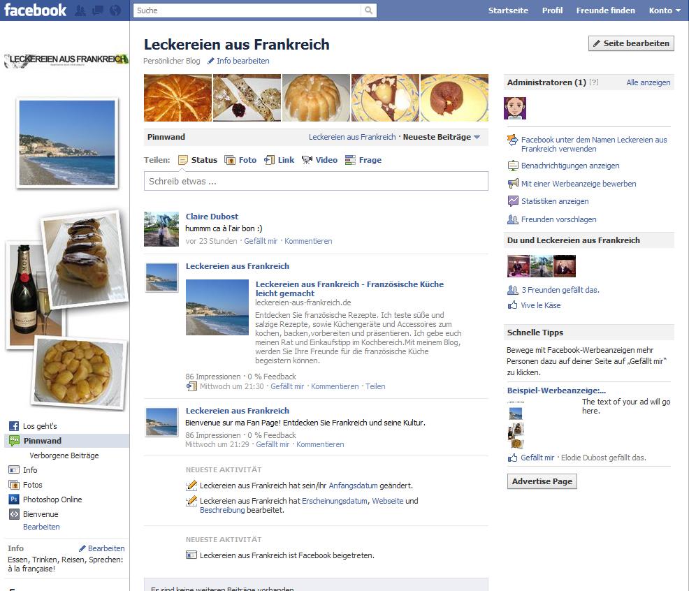 Facebook-Fan-Page-Pinnwand