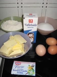 Zutaten für einen Quatre Quarts Kuchen