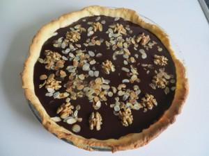 Tarte chocolat amandes et noix