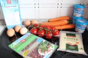 Zutaten Quiche Carottes et Tomates