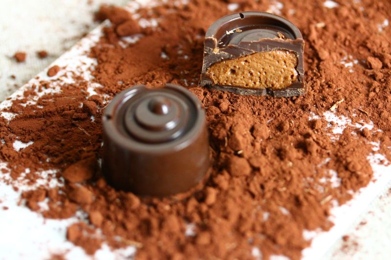 Pralinen mit Mousse au chocolat 11